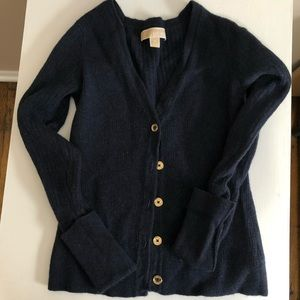 Navy cardigan / gold buttons